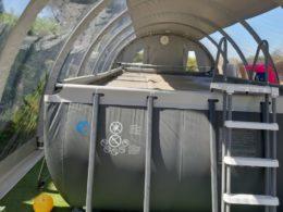 Abri Techniflex sur piscine Hors sol vue intérieure